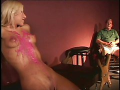 Fetish lesbo sex with hot wax