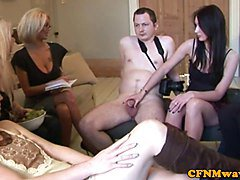 CFNM femdom skanks take turn to wank guy