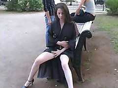 naughty in public girl in a matrix coat flashing in the park