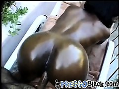 pregnant black chick bends over and gets fucked doggy style