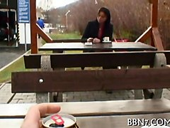 amateur brunette babe chats with public agent