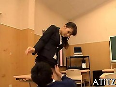 busty japanese bitch gets rammed by a horny teacher in the classroom