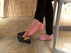 Candid student college feet in library