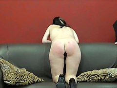 Spanked amateur ###s ### blowjob and rough whipping of oral submissive Faye Corbin in bruising bare bottom punishme