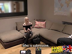 fakeagentuk dirty agent gives anal creampie to hot submissive blonde
